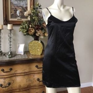 NWT criss-cross satin slip dress+back zipper